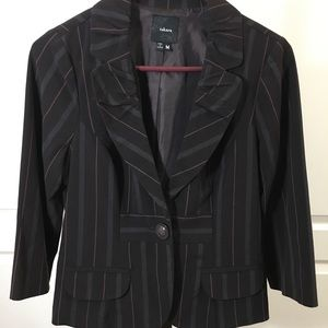 Takara pinstriped pant suit in chocolate brown